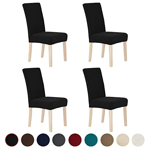 Deconovo Elastic Spill Proof Black Parson Chair Slipcovers Modern Chair Covers for Dining Room Set of 4 (And Chairs Fabric White Dining Black)