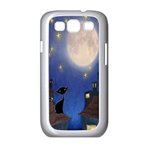 Custom Colorful Case for Samsung Galaxy S3 I9300, Cat, Sun and Moon Cover Case - HL-505466