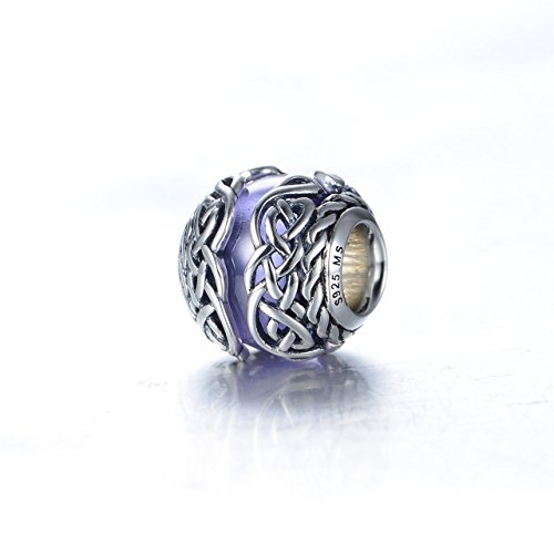 Purple Murano Glass & Sterling Silver Irish Celtic Mystic Knot Charm S925, Irish Celtic Eternal Love Knot Silver Charm Bead, Irish Violet Lilac pendant Charm Jewelry, Pandora compatible (Mystic Knot Pendant)