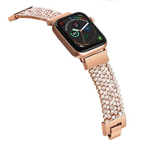 Compatible with Apple Watch Band 40mm 38mm iWatch Bands Series 4 3 2 1 Women Girls, Crystal Rhinestone Replacement Strap, Fresheracc Mesh Chain Jewelry Wristband