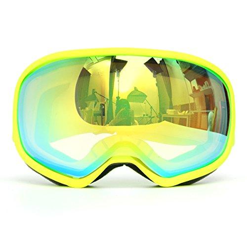Viviance Pro Skibrille Doppel-Lens Anti Nebel Uv-Grün Lens Gelben Rahmen