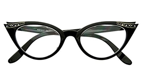 AStyles - Vintage Cateyes 80s Inspired Fashion Clear Lens Cat Eye Glasses with Rhinestones (Black, Clear)
