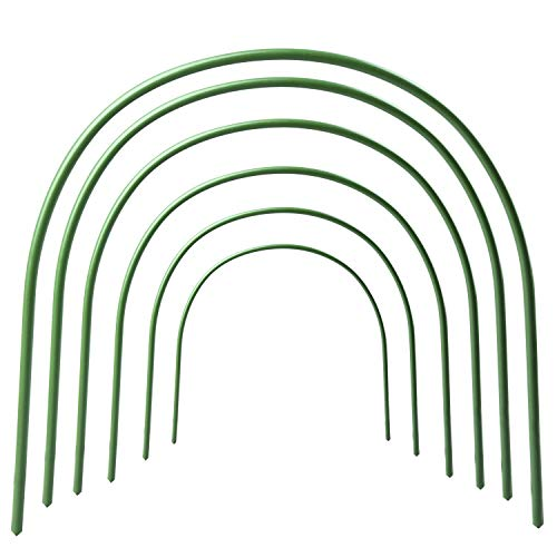 LBZE 4ft long Steel with Plastic Coated hoops,Greenhouse Hoops,Grow Tunnel,Support Hoops for Garden Fabric,6Pcs (Arch Size: 18.9