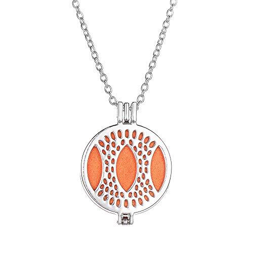 BAFOME Monogram Aromatherapy Essential Oil Diffuser Necklace Locket Pendant (Jewelry Necklace Monogram)