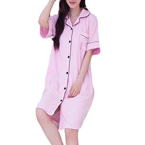 TIAN Sra Fibra De Bambú De Manga Corta Pijama De Servicio Local Pink