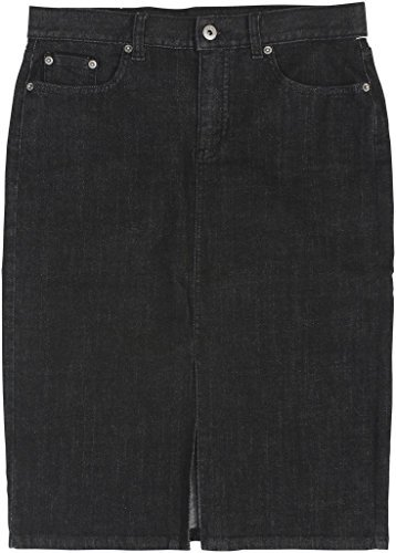 Denim Zip Fly Skirt - Lauren Ralph Lauren Womens Denim Button-Zip Fly Pencil Skirt Black 8