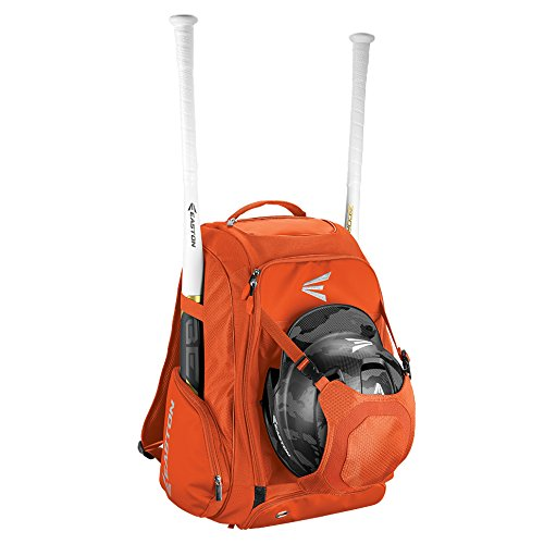 EASTON WALK-OFF IV Bat & Equipment Backpack Bag | Baseball Softball | 2019 | Orange | 2 Bat Sleeves | Vented Shoe Pocket | External Helmet Holder | 2 Side Pockets | Valuables Pocket | Fence Hook