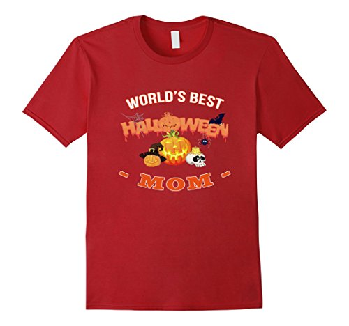 Mens World's Best Halloween Mom funny gift t-shirt 2XL Cranberry - Best Halloween Costumes College Students