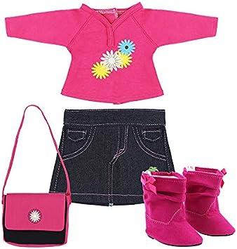 surprise●dolls Ropa para muñecas de 18 Pulgadas de la Marca Sorpresa - Camisa de Manga Larga, Falda Vaquera, Bolso y Botas a Juego de Color Rosa
