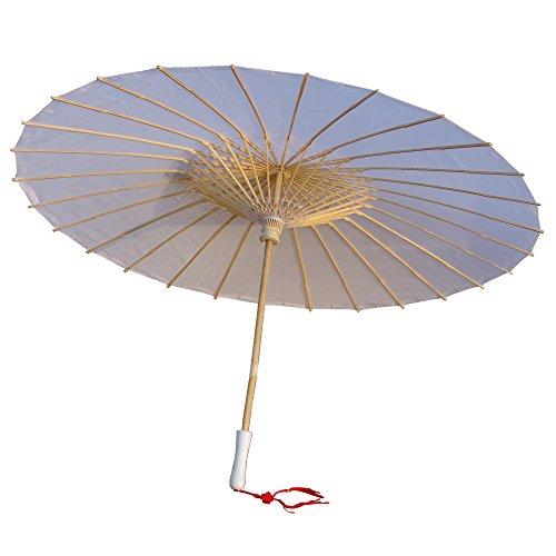 AEAOA Plain Bamboo Cloth Parasol Umbrella Great for Wedding Party Favor (White)