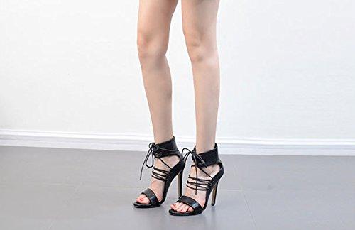 Aisun Damen Offene Zehen Schnürung Knöchelriemchen Stiletto High Heels Sandale Schwarz