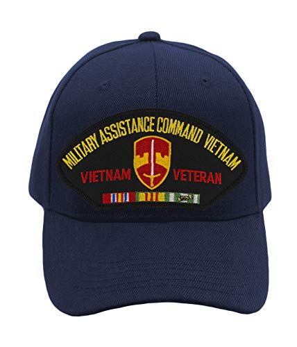 (MACV - Military Assistance Command Vietnam Hat/Ballcap Adjustable One Size Fits Most (Multiple Colors & Styles) (Navy Blue, Standard (No)
