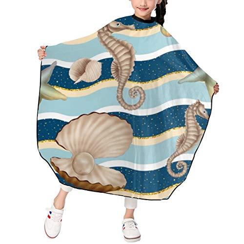 (JinSPef Bubble Hippocampus Starfish Pearl Mussel Sea Barber Salon Cape Apron for Styling Hair Cut Hairdresser Profession Barbershop Supplies Bib Kit Child Kids 39 X 47 in )