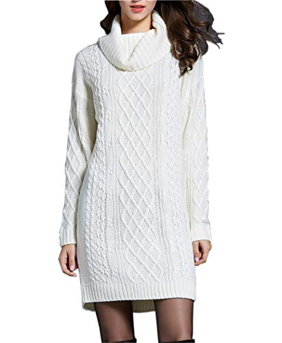 g Sleeve Turtleneck Knit Thick Cable Pullover Sweater Dress (xx-Large, White) ()