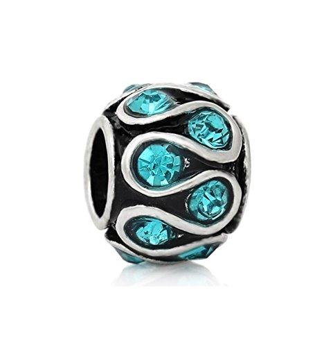J&M Aquamarine Crystal Swirl Charm Bead for Bracelets