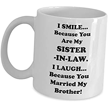 Amazon com: Best Sister In Law Gag Gifts - Funny Cute Coffee