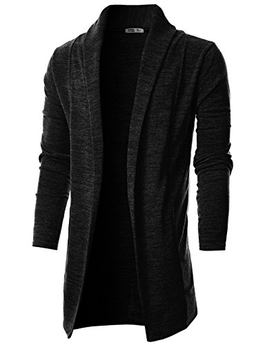 Ohoo Mens Long Sleeve Draped Lightweight Open Front Shawl Collar Longline Cardigan/DCC026-BLACK-L