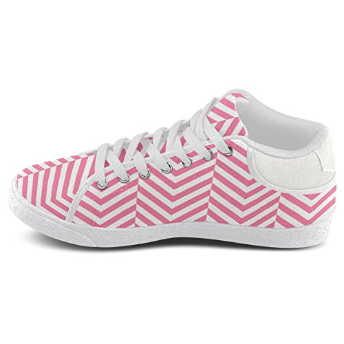 Artsadd Pink and White Classic Chevron Pattern Chukka Canvas Shoes For Women(Model003) 4q6Af9