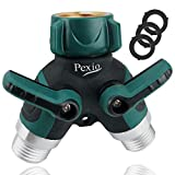 Pexio Professional Garden Hose Connector, Hose Splitter 2 Way with Comfortable Rubberized Grip, Body Made of Copper. ... (Green)