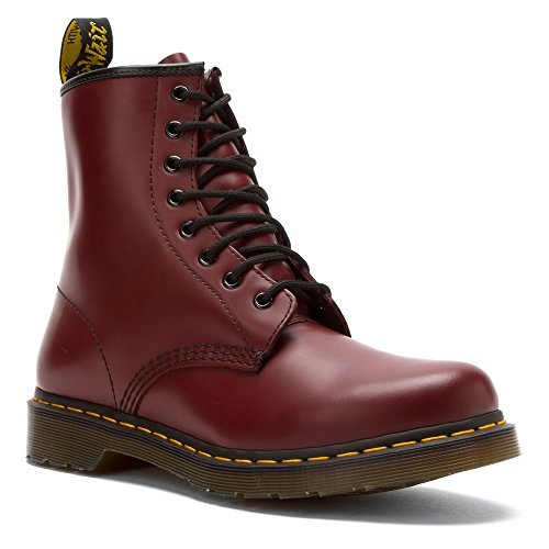 Dr. Martens Dames 1460 Breed 8-oogs Laars Kersenrood Glad 4-delig