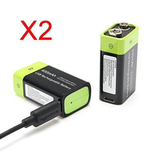 REALACC 2PCS S19 9V 400mAh USB Rechargeable 9V Lipo Battery for RC Toy