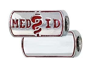 Zable Engravable Medical ID Pandora Compatible Bead / Charm