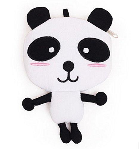 Big Mango Super Cute 3D Panda Cartoon Zipper Coin Purse Wallet Pouch Key Bag for kids Mini Handbag Light -White