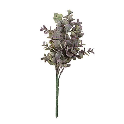 AkoMatial artificiale Fiori finti, 1 Bouquet di eucalipto artificiale falso foglie pianta decorazione Della Festa nuziale - Viola chiaro