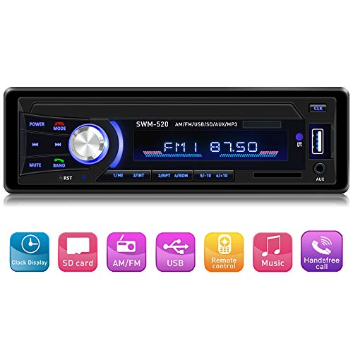 (Car Stereo with Bluetooth Single din in Dash, AM FM Car Radio Car Audio Support USB, SD Card,AUX in, with Wireless Remote Control)