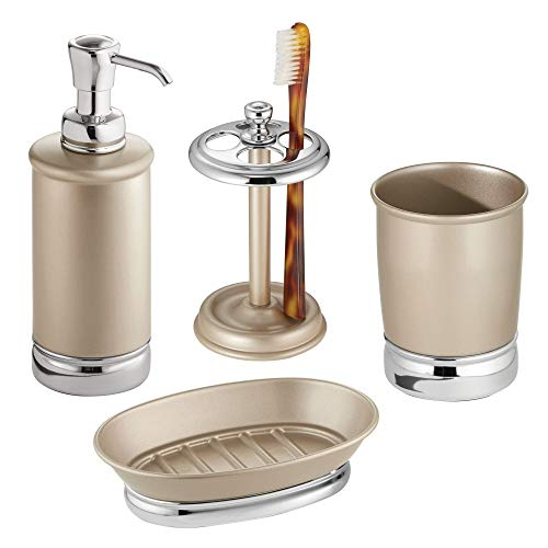 bler, Toothbrush Holder, Soap Dish and Soap Dispenser Pump - Set of 4, Pearl Champagne/Chrome (Pearl Tumbler Set)
