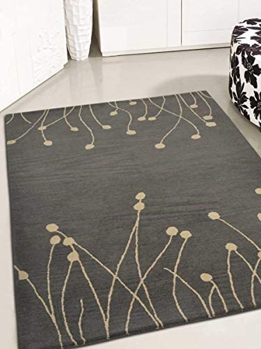 Rugsotic Carpets Hand Tufted Wool 8'x10' Area Rug Floral Gray White K00509