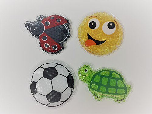 Set of 4 Kids -Child Reusable Animal Shaped Cold Packs (Emoji Smilie Face, Soccer Ball, Turtle, -