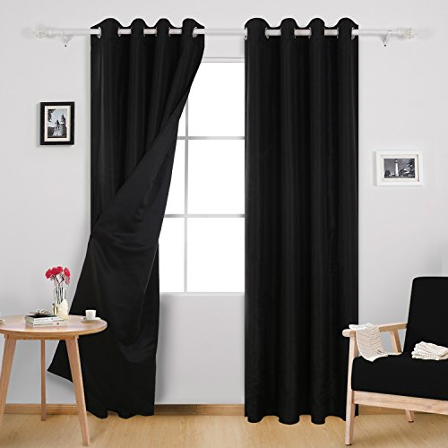 Dupioni Silk Lined Drapes (Deconovo Blackout Drapes Faux Dupioni Silk Curtains with Black Lining Grommet Lined Blackout Curtains for Kitchen 52W x 84L Inch Black 2 Panels)