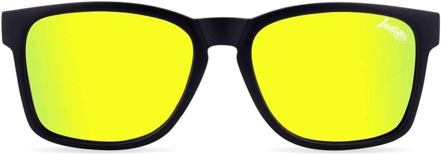The Indian Face Gafas de Sol Deportivas Free Spirit para Hombre y Mujer, Color Negro Lente Amarilla