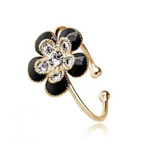 (Goldtone Five Petal Flower Open-Ended Adjustable Fashion Ring with Rhinestones)