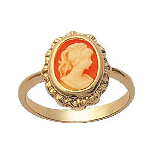 - So Chic Jewels - Ladies Yellow 18k Gold Plated Red Background Cameo Ring - Size 10
