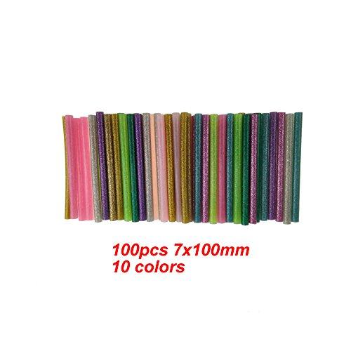 Hot Glue Gun Sticks Colorful by Huwaimi Hot Melt Glue Sticks Mini 7mm x 10cm for DIY Art Craft 10 Colors (100pcs) by HUWAIMI