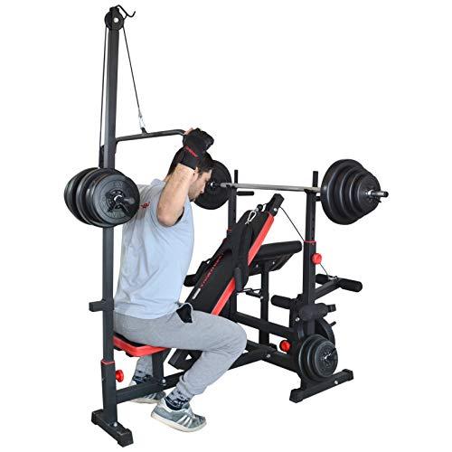 Trainhard estación de gimnasio de banco de pesas de poleas negro/rojo con largo -, Curl - Y de barra corta y 100 kg pesas: Amazon.es: Deportes y aire libre