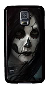 Rugged Samsung Galaxy S5 Case and Cover - Sugar Skull Girl Custom Design PC Case Cover for Samsung Galaxy S5 - Black