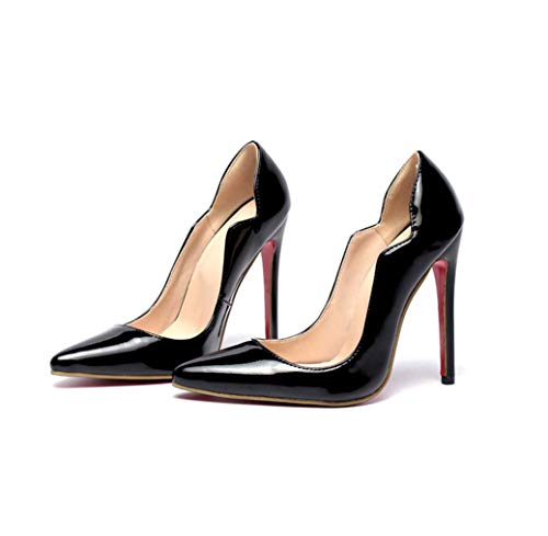 (GanQuan2018 Women Pumps Elegant Patent Leather Pointed Toe High Heels Casual Office Slip-on Thin Stiletto Female Shoes)