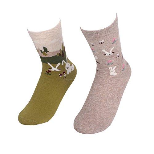 KALAWALK Women's Cool Animal Fun Comfy Crew Socks(FBA) (set 2) (Rabbit Socks)