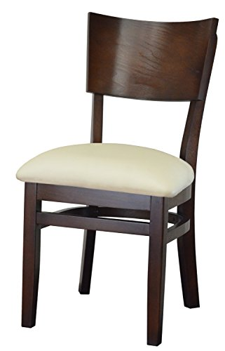 Classic Curved Back Solid Beech Wood Chair Upholstered Cushion Fully Assembled Frame for Restaurants & Homes (Burgundy) (Beechwood Fully Upholstered Chairs)