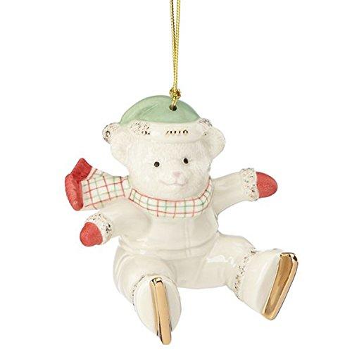 Lenox 2016 Annual Teddy Bear Ornament Slip N Slide Ice Skating Christmas