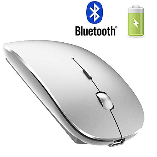 Rechargeable Bluetooth Mouse for Mac Laptop Wireless Bluetooth Mouse for MacBook Pro MacBook Air Windows Notebook MacBook Silver