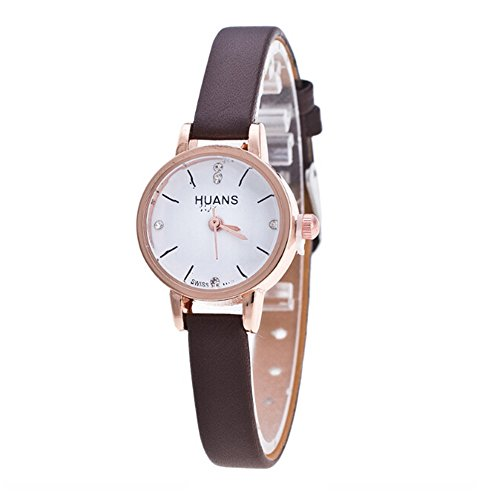 Women Watches Leather Strap Round Case Analog Fashion Bracelet Watch for Travel Souvenir Birthday Gifts (D)