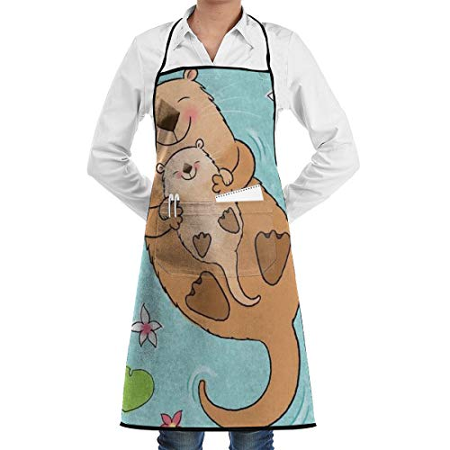 JNSHO-G Gardening Aprons with Handy Pocket, Mom Holding Baby Otter Bib Apron for Adult -