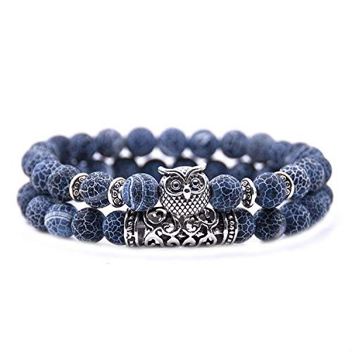 2 Pcs/Set Fashion Couple Tiger Eye Stone Bracelets Bangles Classic Black White Natural Lava Stones Charm Bead Bracelet Women Men,6