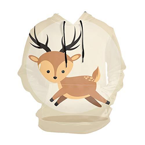 Icon Full Zip Hoody - Hooded Full Zip Hoody Reindeer Cartoon Icon Woodland Animal Hooded Top Hoodie Mens Size S to XX-Large