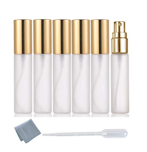 ELFENSTALL- Frosted 6pcs 10ml 1/3OZ Fine Mist Gold Atomizer Glass Bottle Spray Refillable Fragrance Perfume Empty Scent Bottle for Travel Party Portable 3ML Free Pipette