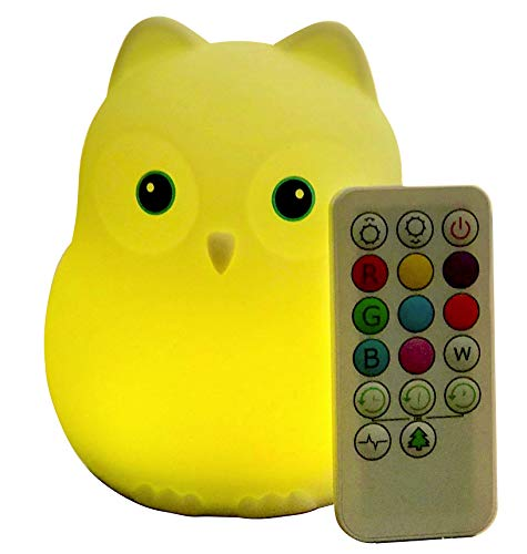 Goodnight Owl Junior Rechargable Night Light for Kids & Toddlers – Multi-Color LEDs (9 Colors!), Remote Control, BPA-Free Silicone, 5 Levels of Brightness, Auto-Off Timer. Super Cute and Fun! For Sale